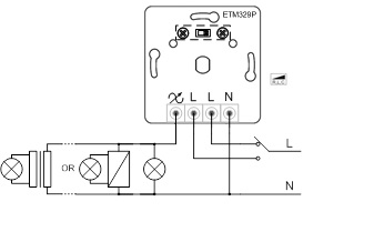 Triac himmennin/vastaanotin Push Dim 230V max. 400W, RF WiFi